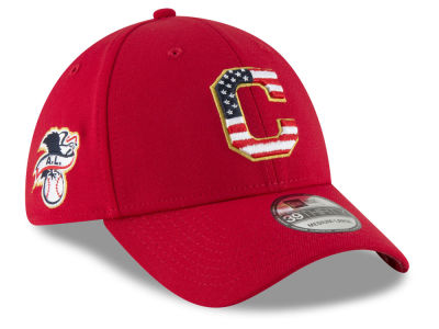 Cleveland Indians New Era 2018 MLB Stars and Stripes 39THIRTY Cap