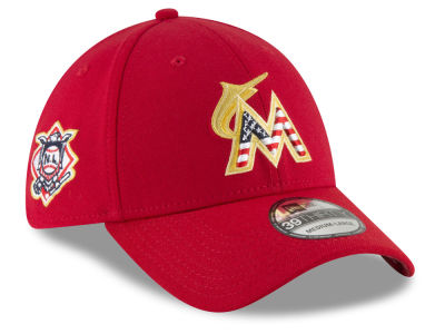 Miami Marlins New Era 2018 MLB Stars and Stripes 39THIRTY Cap