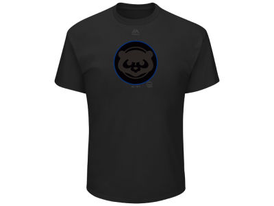 Chicago Cubs Majestic MLB Men's Pitch Black Focus T-Shirt