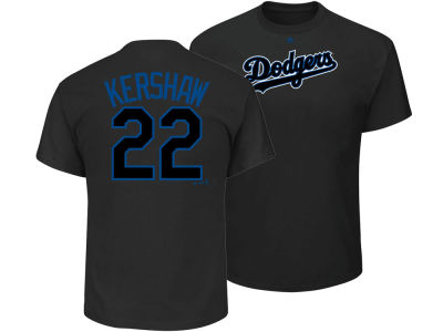 Los Angeles Dodgers Clayton Kershaw Majestic MLB Men's Pitch Black Player T-Shirt