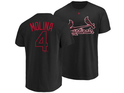 St. Louis Cardinals Yadier Molina Majestic MLB Men's Pitch Black Player T-Shirt