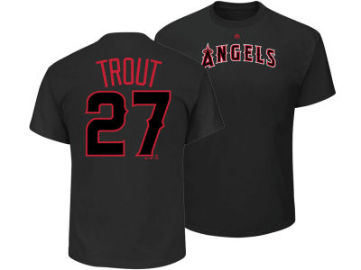 Los Angeles Angels Mike Trout Majestic MLB Men's Pitch Black Player T-Shirt