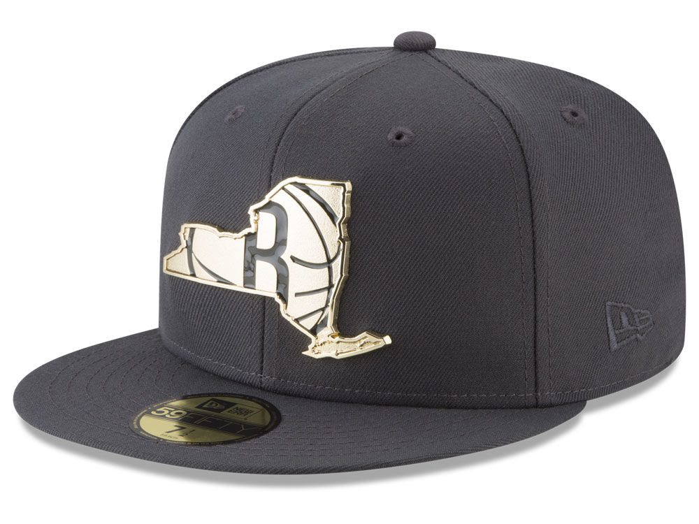 0aab8f2cc53 Brooklyn Nets New Era NBA Gold Stated 59FIFTY Cap