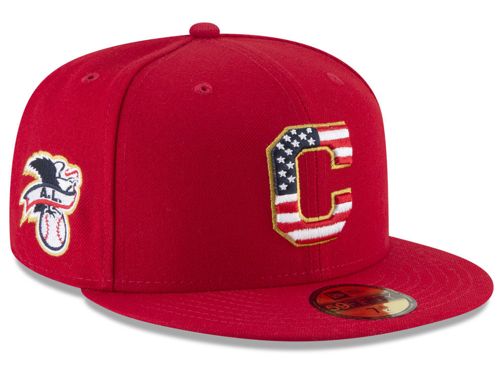 Cleveland Indians New Era 2018 MLB Stars and Stripes 59FIFTY Cap ... fb358ec676c3