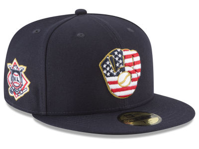 Milwaukee Brewers New Era 2018 MLB Stars and Stripes 59FIFTY Cap