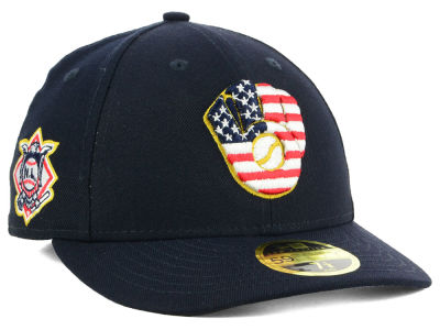 Milwaukee Brewers New Era 2018 MLB Stars and Stripes Low Profile 59FIFTY Cap
