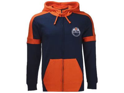Edmonton Oilers NHL Branded NHL Men's Iconic Color Blocked Full Zip Hoodie