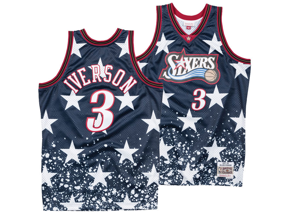 Philadelphia 76ers Allen Iverson Mitchell   Ness NBA Men s The 4th Swingman  Jersey  085b1067b