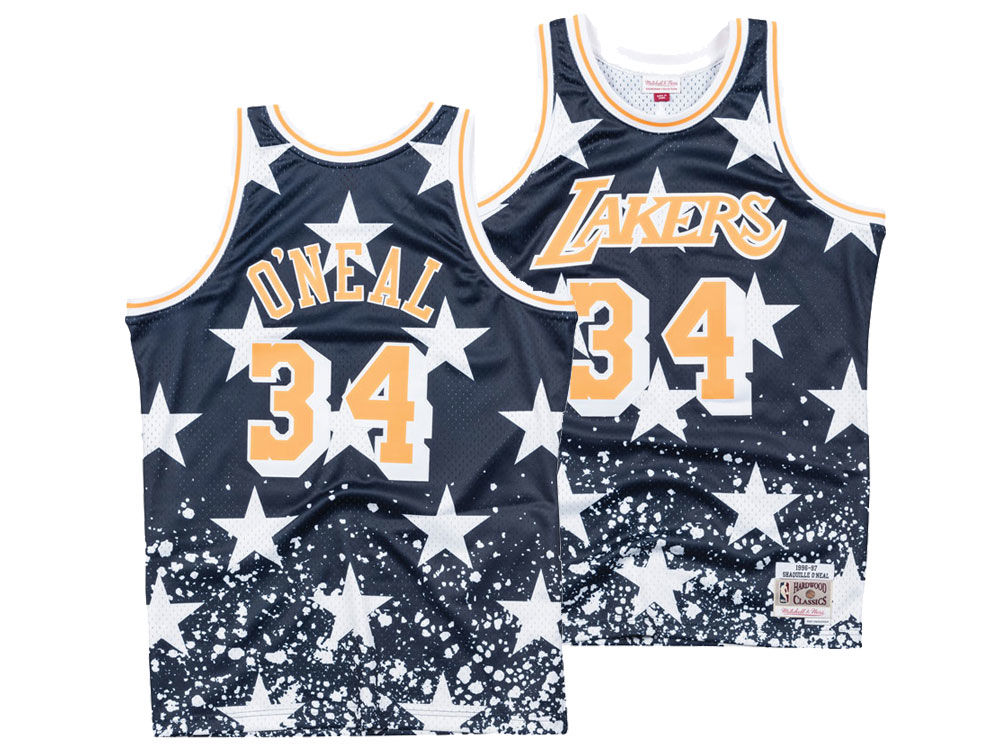 34b03379f Los Angeles Lakers Shaquille O Neal Mitchell   Ness NBA Men s The 4th  Swingman Jersey