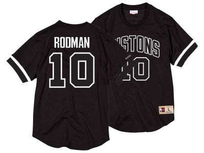 Detroit Pistons Dennis Rodman Mitchell & Ness NBA Men's Black & White Mesh Name and Number Crew Neck Jersey