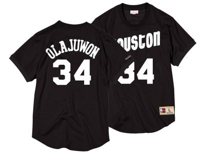 Houston Rockets Hakeem Olajuwon Mitchell & Ness NBA Men's Black & White Mesh Name and Number Crew Neck Jersey