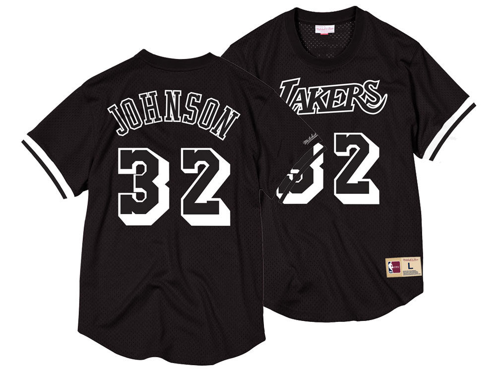59da2a88e14 Los Angeles Lakers Magic Johnson Mitchell   Ness NBA Men's Black   White  Mesh Name and Number Crew Neck Jersey