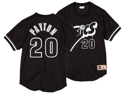 Seattle SuperSonics Gary Payton Mitchell & Ness NBA Men's Black & White Mesh Name and Number Crew Neck Jersey