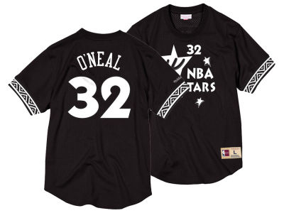 NBA All Star Shaquille O'Neal Mitchell & Ness NBA Men's Black & White Mesh Name and Number Crew Neck Jersey