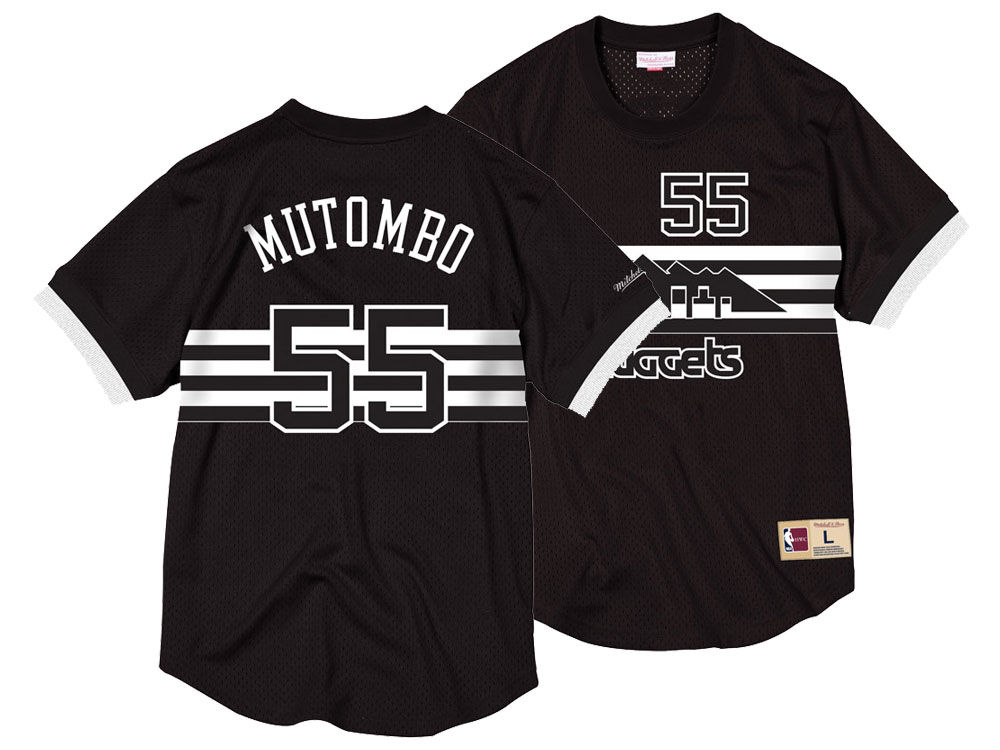 a0e0366c9be ... jerseys e15f2 cc541  canada denver nuggets dikembe mutombo mitchell  ness nba mens black white mesh name and number crew