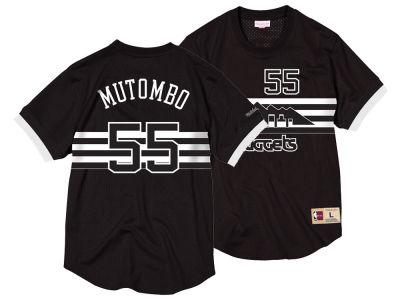 Denver Nuggets Dikembe Mutombo Mitchell & Ness NBA Men's Black & White Mesh Name and Number Crew Neck Jersey