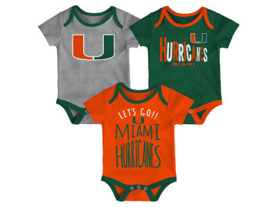 Miami Hurricanes Outerstuff NCAA Newborn Lil Tailgater 3 Piece Set