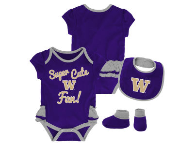 Washington Huskies Outerstuff NCAA Newborn Girls Trifecta Bib Set