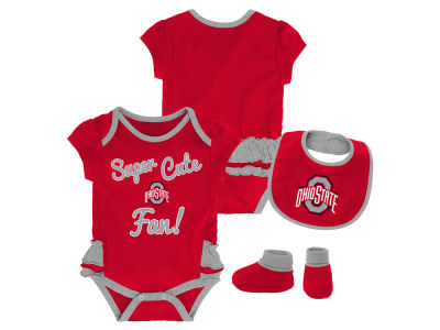 Ohio State Buckeyes Outerstuff NCAA Newborn Girls Trifecta Bib Set