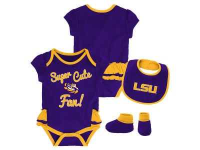 LSU Tigers Outerstuff NCAA Newborn Girls Trifecta Bib Set