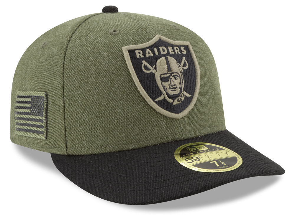60fde10750a Oakland Raiders New Era 2018 NFL Salute To Service Low Profile 59FIFTY Cap