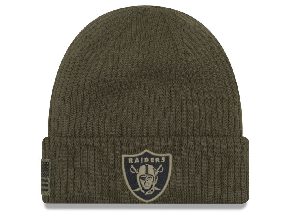 0aceb3b9d62 Oakland Raiders New Era 2018 NFL Salute To Service Cuff Knit