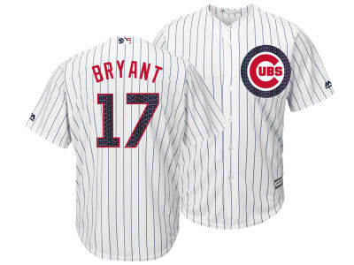 Chicago Cubs Kris Bryant Majestic MLB Men's Stars & Stripes Cool Base Jersey