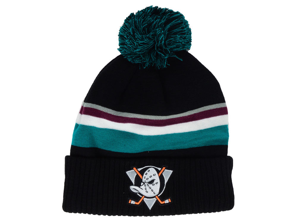 66ef50c42cc Anaheim Ducks NHL Branded NHL Alternate Jersey Cuffed Pom Knit ...