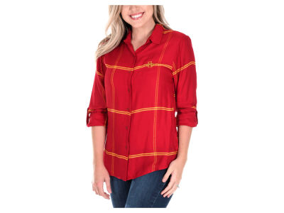 Iowa State Cyclones University Girls NCAA Women's Satin Boyfriend Plaid Button Up Shirt