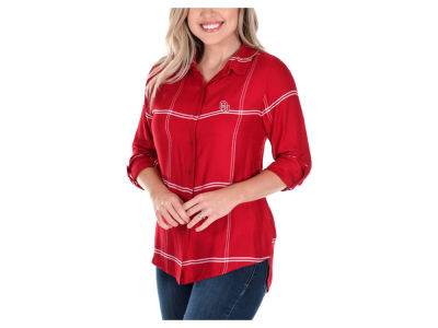 Oklahoma Sooners University Girls NCAA Women's Satin Boyfriend Plaid Button Up Shirt