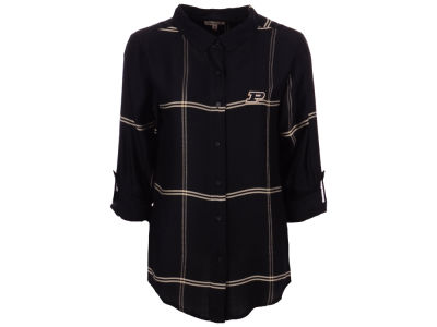 Purdue Boilermakers University Girls NCAA Women's Satin Boyfriend Plaid Button Up Shirt