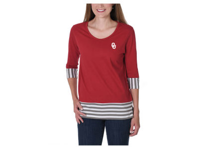 Oklahoma Sooners NCAA Women's Striped Panel T-Shirt