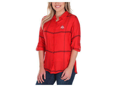 Ohio State Buckeyes University Girls NCAA Women's Boyfriend Plaid Button Up Shirt
