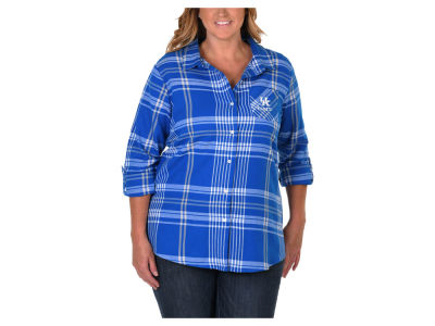 Kentucky Wildcats NCAA Women's Flannel Boyfriend Button Up Shirt