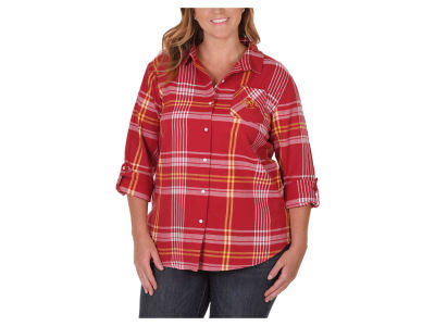 Iowa State Cyclones NCAA Women's Flannel Boyfriend Button Up Shirt