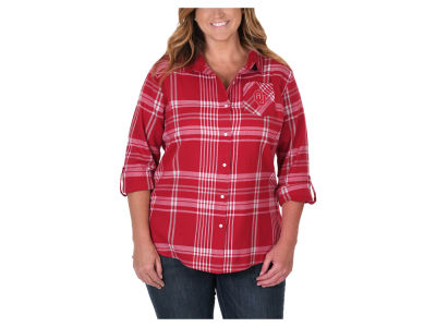 Oklahoma Sooners NCAA Women's Flannel Boyfriend Button Up Shirt