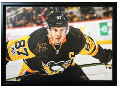 Pittsburgh Penguins Sidney Crosby Frameworth Signed 20x29 Canvas Framed