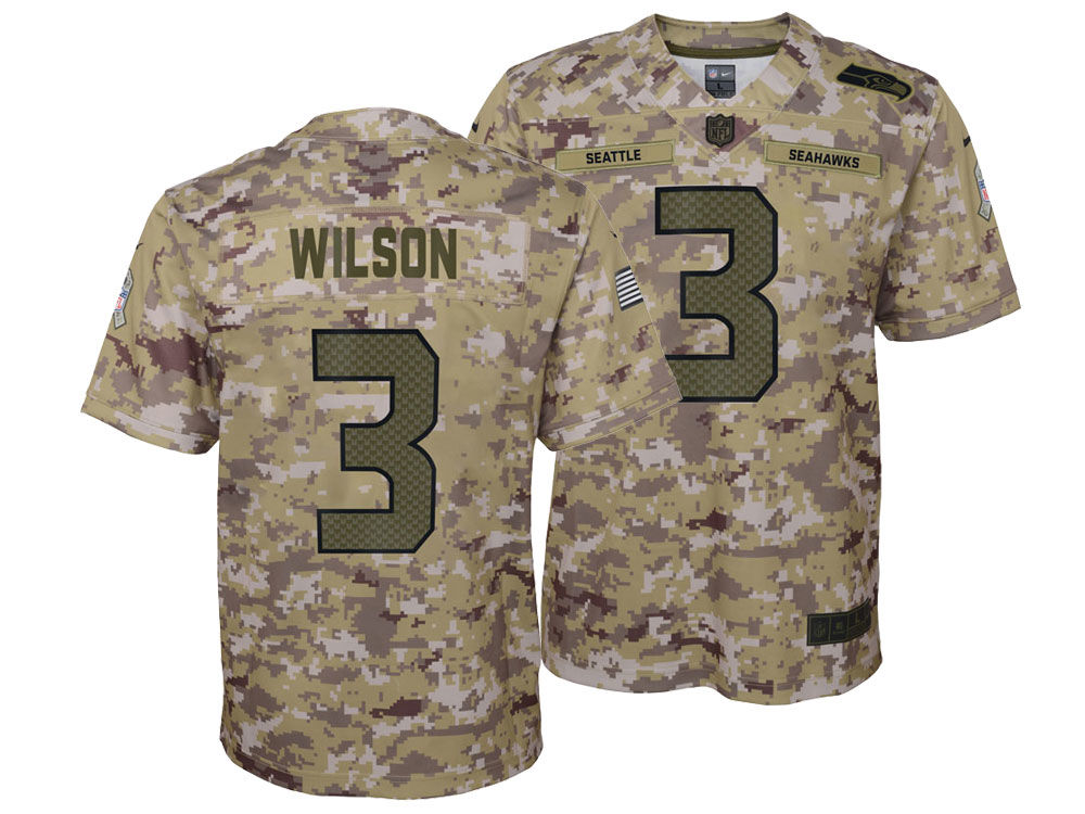 e0f53a94c Seattle Seahawks Russell Wilson Nike 2018 NFL Youth Salute To Service Jersey