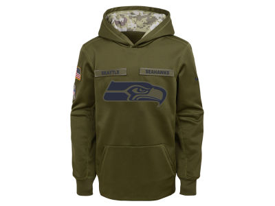 Seattle Seahawks Nike 2018 NFL Youth Salute To Service Therma Hoodie