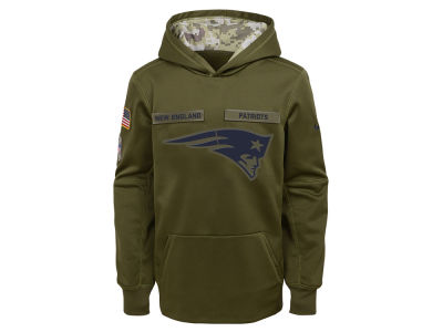 New England Patriots Nike 2018 NFL Youth Salute To Service Therma Hoodie