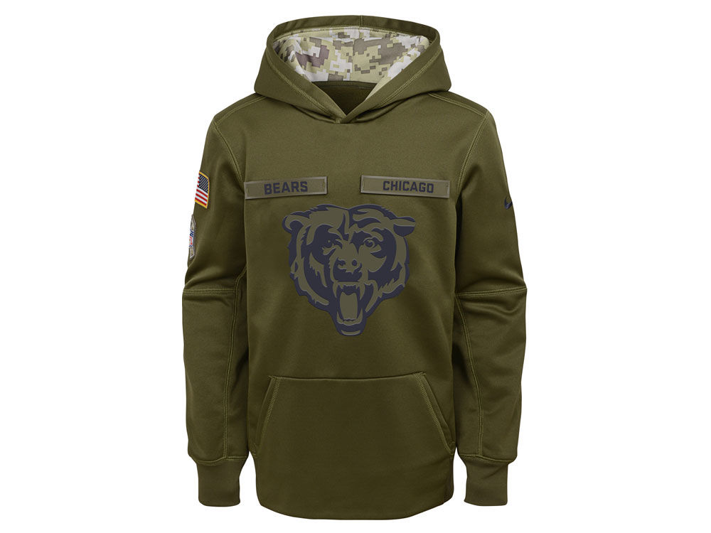 ff7a9dbc3 Chicago Bears Nike 2018 NFL Youth Salute To Service Therma Hoodie ...