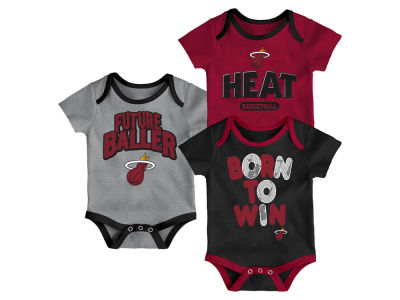 Miami Heat Outerstuff NBA Newborn 3 Piece Bodysuit Set