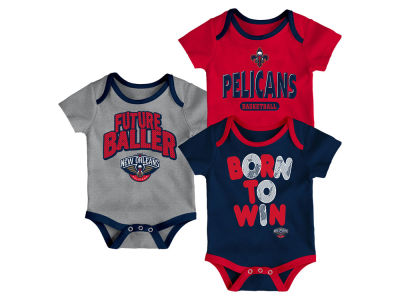 New Orleans Pelicans Outerstuff NBA Newborn 3 Piece Bodysuit Set