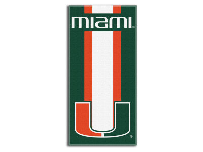 "Miami Hurricanes College 30x60 inch Beach Towel ""Zone Read"""
