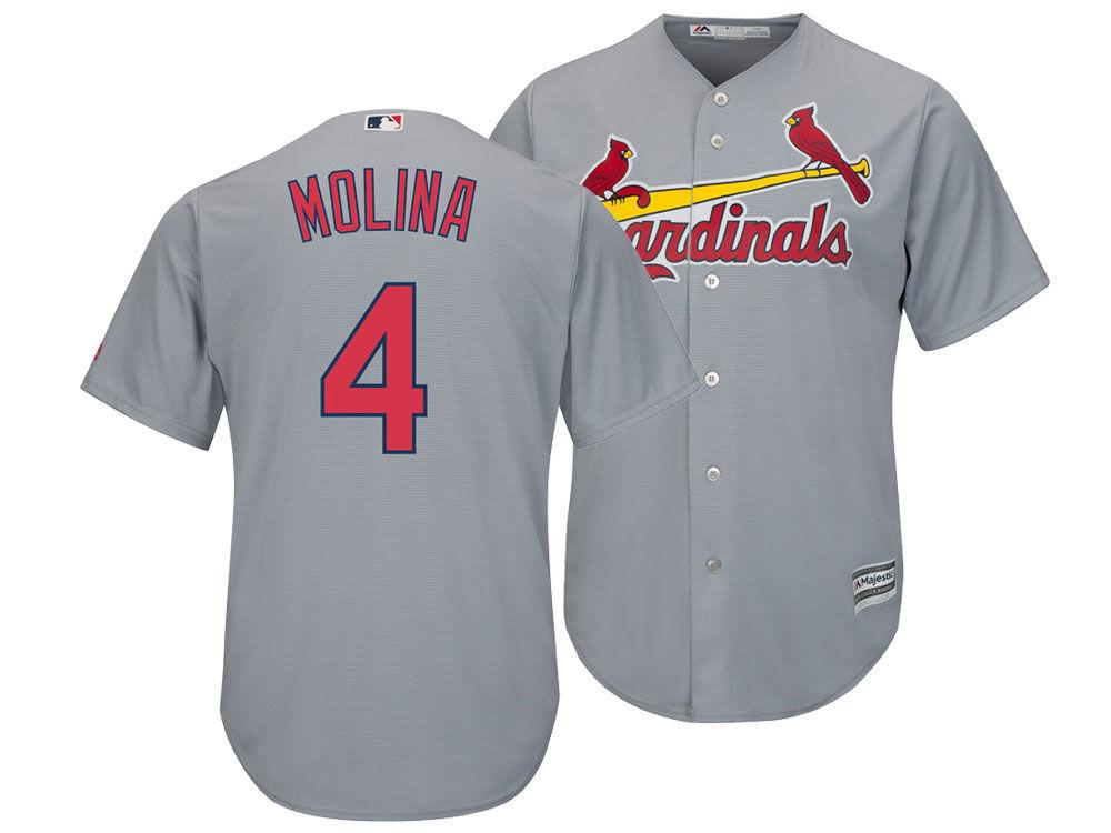 promo code fdaf3 ed295 St. Louis Cardinals Yadier Molina Majestic MLB Men's Player Replica Cool  Base Jersey