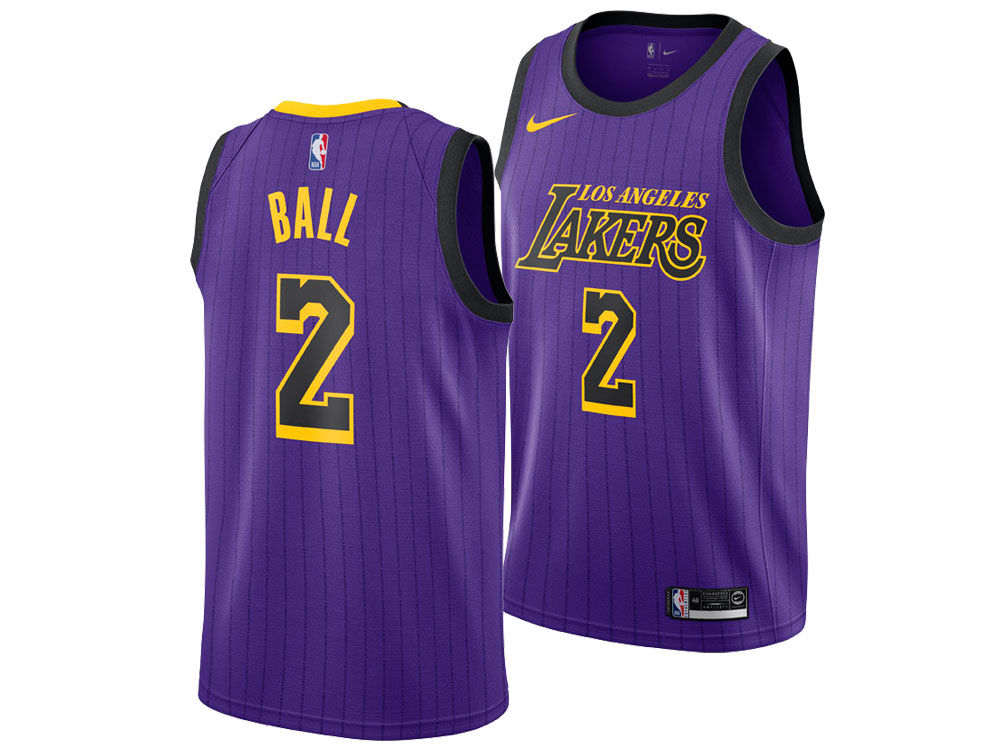 Los Angeles Lakers LONZO BALL Nike 2018 NBA Men s City Swingman Jersey  3c9ea117c
