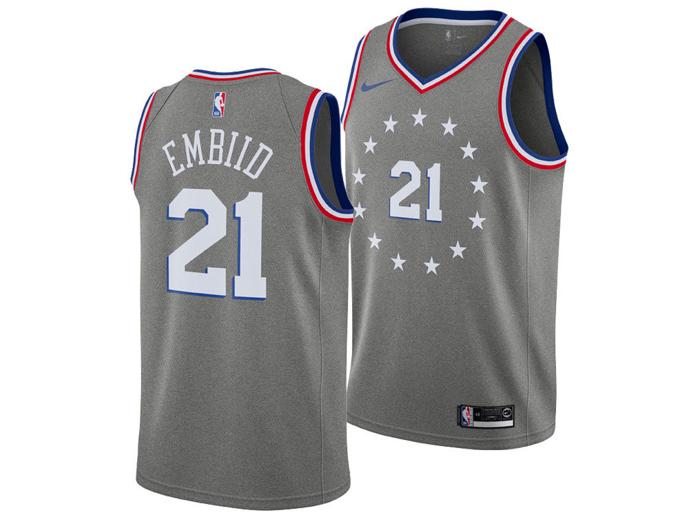 Philadelphia 76ers JOEL EMBIID Nike 2018 NBA Men s City Swingman Jersey.  Top. Philadelphia ... 962f62596