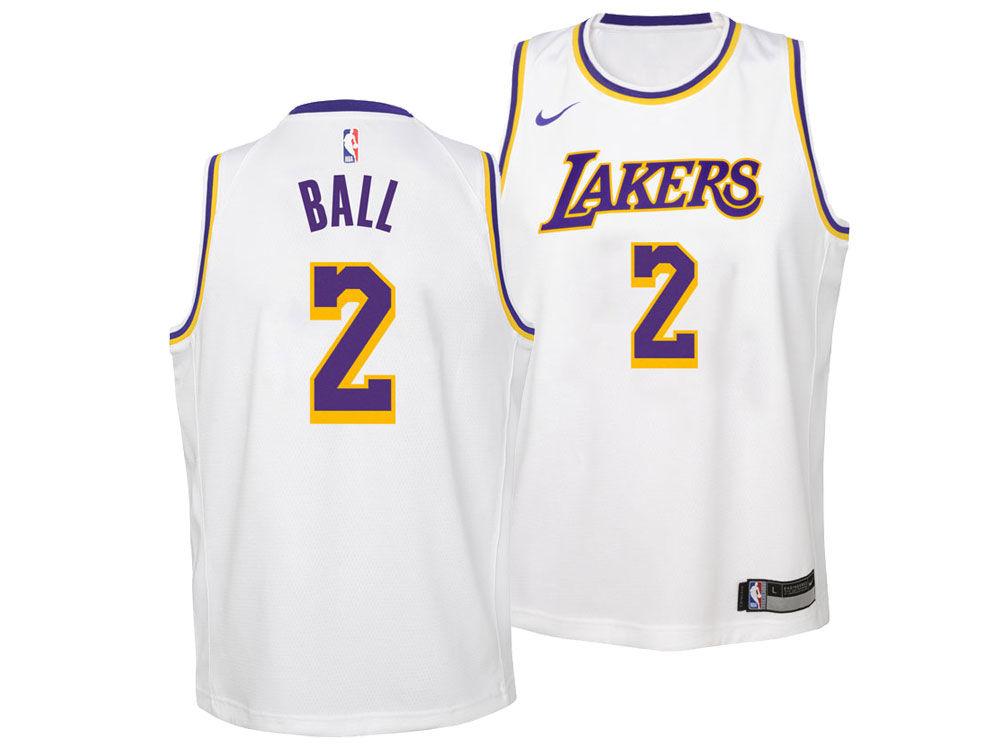 Los Angeles Lakers Lonzo Ball Nike NBA Youth Association Swingman Jersey  2ec6d4ca8