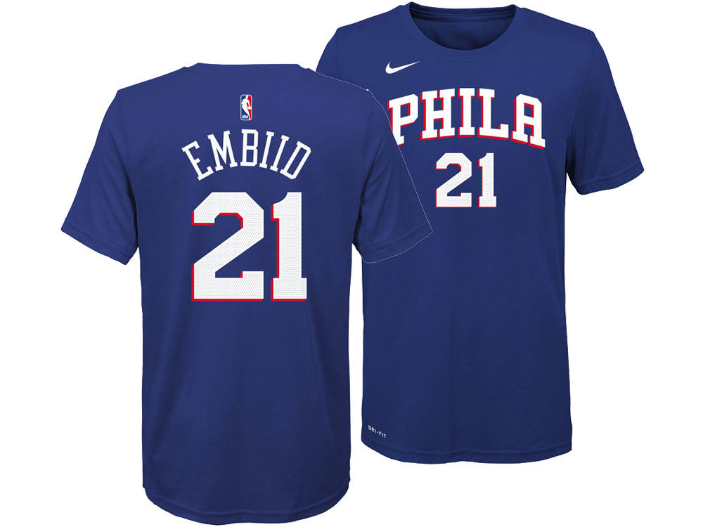 65fffbbf4 ... shop philadelphia 76ers joel embiid nike nba youth icon name and number  t shirt d17c3 87c71