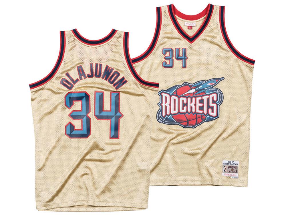7458aaffc Houston Rockets Hakeem Olajuwon Mitchell   Ness NBA Men s Gold Collection Swingman  Jersey